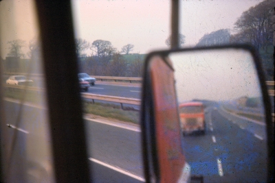 GFV & John in mirror and AW running home unit only on M6 northbound - water damaged